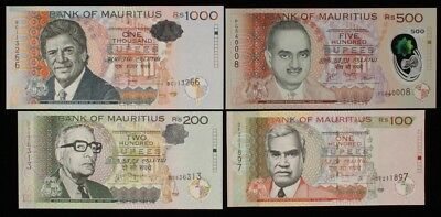 MAURITIUS : 100, 200, 500, 1000 Rupees 2010-17 P-56new, 61b, 66new, 63a. UNC (4)