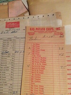 Vintage huge lot of grocery store receipts  1963 Barnes Grocery Poplar Bluff,Mo