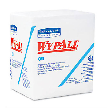 Wypall 34865 X60 Wipers, 1/4-Fold, 12 1/2 x 13, White, 76/Box, 12 Boxes