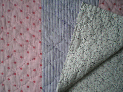 "Pretty Large Panel Of An Antique Patchwork Quilt 41"" x 27"""