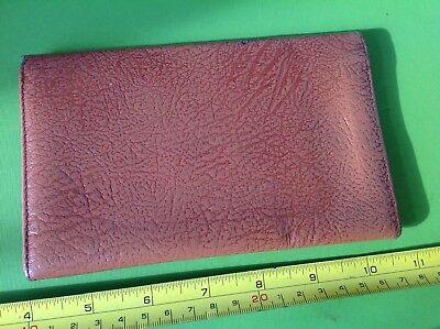 OLD RETRO VINTAGE 50s BIFOLD AUTHENTIC TAN LEATHER CARD CASE MONEY WALLET STAMPS