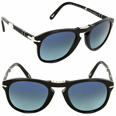 99ae7591a4d Persol Steve McQueen Sunglasses PO 714SM 95 S3 54mm Black   Blue Polarized  Lens