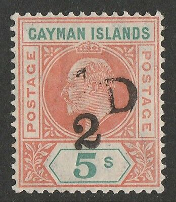 CAYMAN ISLANDS 1907 '½ D' on KEVII 5/- VARIETY 1 MISSING. ONLY 2160 PRINTED!