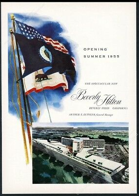 1955 Beverly Hilton Hotel Beverly Hills grand opening art vintage print ad