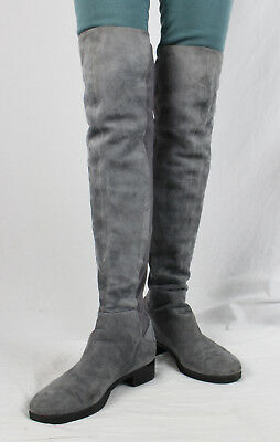 Tory Burch Auth Gray Suede Front Stretch Back Over The Knee Stacked Heel Boot 9