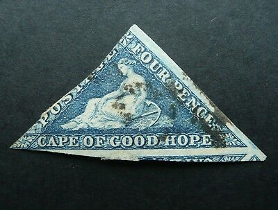 CAPE OF GOOD HOPE TRIANGLE 4d BLUE STAMP - FINE USED - NICE MARGINS - SEE!