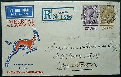GB 8 DEC. 1931 1st AIR MAIL FLIGHT REG COVER - OXFORD TO CAPE TOWN, SOUTH AFRICA
