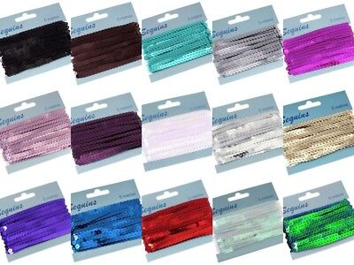 5 Metres Of Flat Strung 6Mm Sequins Trim - Many Colours To Choose From