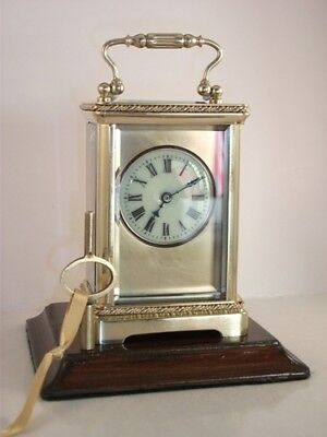 Antique Brass Carriage Clock With Masked Dial. Key.  Full Service July 2018