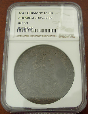 Germany Augsburg 1641 Silver Taler NGC AU50