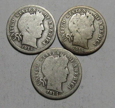 1914 1914 D 1914 S Barber Dime - Circulated Condition - 30SU-2