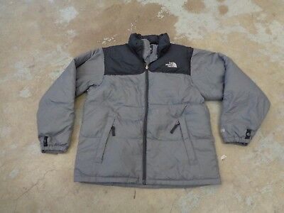 The North Face Jacket Down 600 Nuptse Sz L Boys Youth Hiking Sport Gray Black