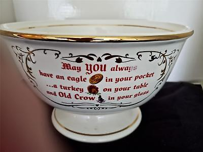 Old Crow Whiskey Advertising Punch Bowl Unused & Near Mint Cond. No Cups