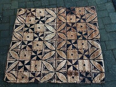 k) Vintage Polynesian South Pacific Tapa Bark Cloth - Hawaii Tiki Bar Decor