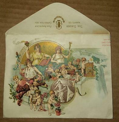 jd 1901 Pan-American Expo color Chromo ad cover Singer Sewing Machines