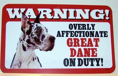 """Warning Overly Affectionate Great Dane On Duty Wall Sign 5"""" x 8"""" Dog Harlequin"""