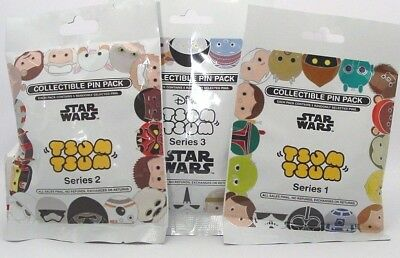 Disney Pin Collectible STAR WARS TSUM TSUM  1, 2, & 3 Mystery Packs Lot of 15
