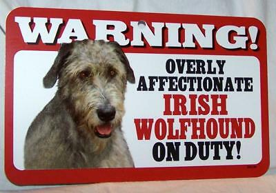 Warning Overly Affectionate Irish Wolfhound On Duty Plastic Wall Sign Dog