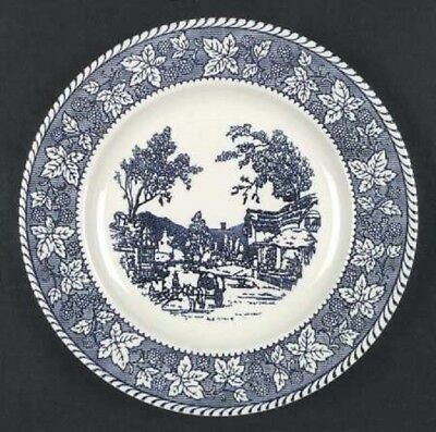 5 RARE antique DINNER PLATE Shakespeare Country Blue Leaves Homer Laughlin china