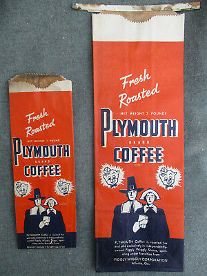 VINTAGE 1930s-1940s PIGGLY WIGGLY GROCERY STORE PLYMOUTH COFFEE 1 & 3 LB BAG