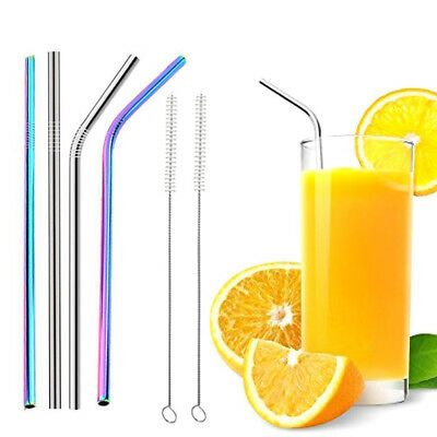 1/5/8pcs Stainless Steel Metal Reusable Cocktail Drinking Straws Cleaner Brush
