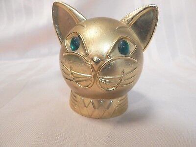 Vintage Cat Head Bank w/Emerald Green Eyes Gold Color Metal Purrrfectly Fun Bank