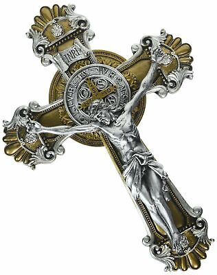 Saint Benedict Wall Cross Crucifix with Antique Silver and Gold Finish, 10 1/4