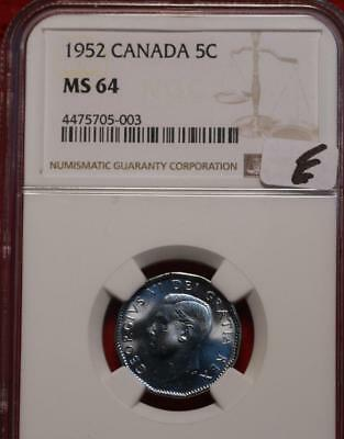 1952 Canada 5 Cents Coin NGC Graded MS 64