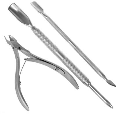 Pedicure Manicure Set. Nail Cuticle Spoon Pusher Remover Nail Cut Tool,Pack of 3