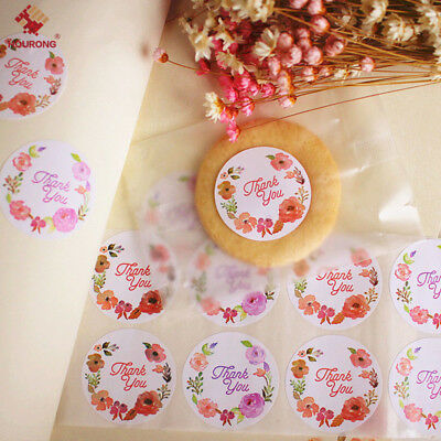 120Pcs Round Thank You Letter Label Flower Adhesive Sticker Packaging Tag Decor