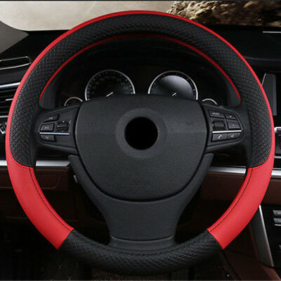 Universal 38cm Outside Diameter Autos PU Leather Steering Wheel Cover Black+Red