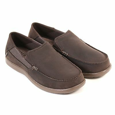 Mens Crocs Santa Cruz 2 Luxe Leather Brown Slip On Loafers with Soft Footbed