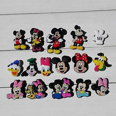 50pcs Lot Mickey Minnie Duck PVC Shoes Charms fit for Wristbands