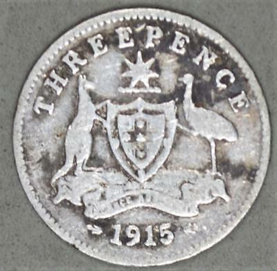 Australia 1915 3 Pence Sterling Silver Coin