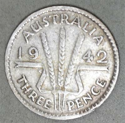 Australia 1942(m) 3 Pence Sterling Silver Coin