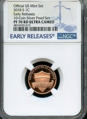2018 S Lincoln Penny From 10-Coin Silver Set NGC PF70 Ultra Cameo (BLUE)