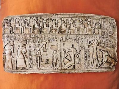 Unique Amazing Hand Carved Antique Egyptian Wall Plaque of Ancient JUDGMENT DAY