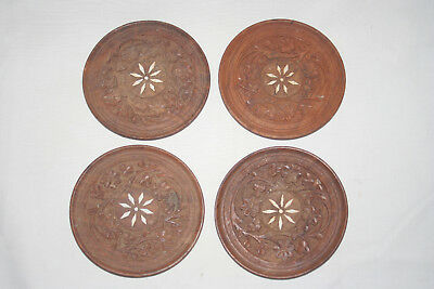 4 India carved  coasters with inlay