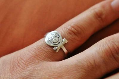 Oxidized Gorgeous Antique Egyptian Silver Ring Band Ancient Scarab Beetle, Ankh