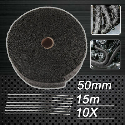 New Local Wrap 50mm X 15m + 10 Stainless Steel Ties 2000f Black Exhaust Heat Au