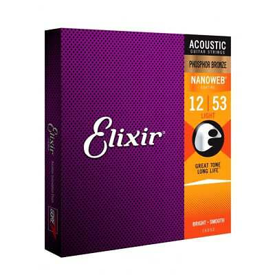 Elixir Nanoweb E16052 Phosphor Bronze Acoustic Guitar Strings 12-53 Light