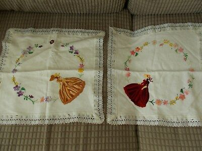 Pair Of Vintage Embroidered Cushion Covers