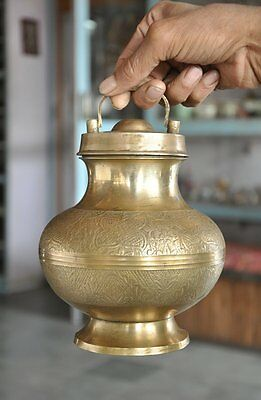 Old Brass Unique Shape Handcrafted Inlay Engraved Holy Water Pot