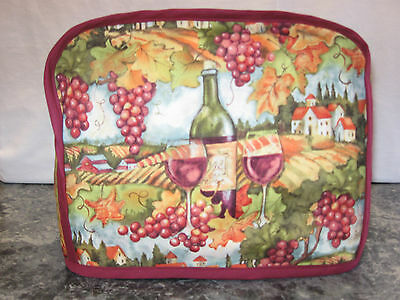 Wine Bottle Wine Glasses Grape cotton fabric Handmade 2 slice toaster cover ONLY