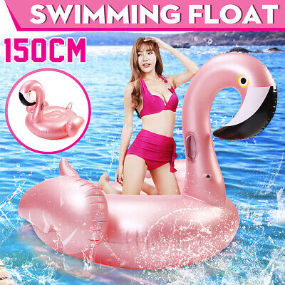 150cm Rose Gold Inflatable Flamingo Swimming Float Tube Raft Adult Giant pool