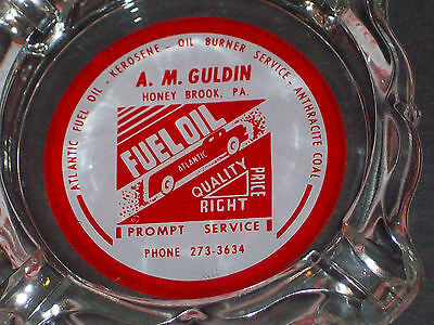 Rare glass ashtray, A. M. Guldin Atlantic fuel oil service. Honey Brook, Pa.