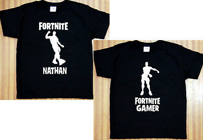 Kids Personalised Black Fortnite T-Shirt Floss/Hype Option To Add Name 5 Sizes