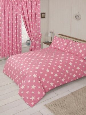 Pink And White Twinkle Stars  Duvet Set In Junior Single Double Size Or Curtains