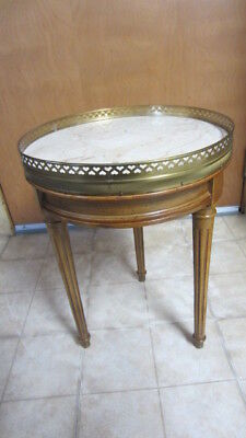 Vintage Brandt Hagerstown, MD Round Accent Table, Wood & Marble, Chantilly