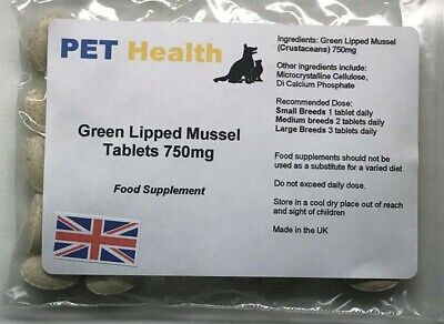 Green Lipped Mussel Tablets 30 x 750mg Dogs Cats Pets Joint Pain Arthritis